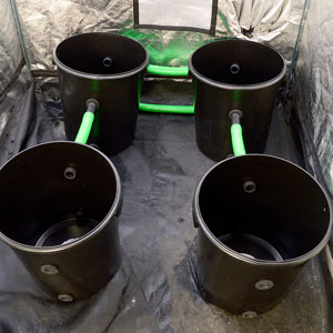 Two bucket with green hose connect to other two buckets