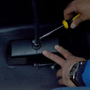 Secure the water pump with a clamp
