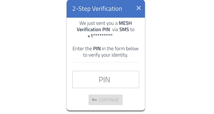 mesh add sms pin